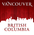 Vancouver British Columbia Canada city skyline sil vector image