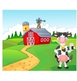 Cartoon cow holding a glass of milk with farm back vector image vector image