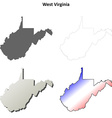 West Virginia outline map set vector image