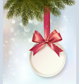Christmas background with a label and a bow vector image