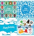 Funny colorful Happy birthday card set vector image