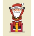 santa claus happy sit over big gift vector image