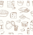 Seamless pattern with Dairy products hand drawn vector image