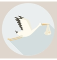 Stork delivering baby cartoon vector image