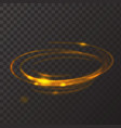 Gold circle light effect Glowing fire ring trace vector image