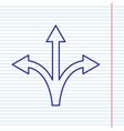 Three-way direction arrow sign navy line vector image