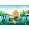 A mermaid above the log vector image vector image