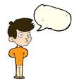 cartoon boy staring with speech bubble vector image
