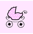 Pink baby stroller with polka dots vector image