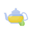 green tea pot flat icon vector image