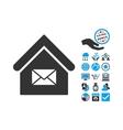 Post Office Flat Icon With Bonus vector image