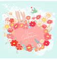 Greeting card with bunny vector image vector image