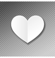 white paper heart shape origami with shadow on vector image
