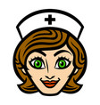 Friendly female nurse cartoon face smile vector image