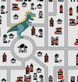 Aggressive dinosaur destroys urban building vector image