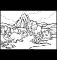 coloring page of cartoon triceratops and vector image