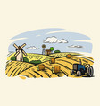 country with tractor vector image
