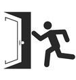 Stick man figure enters an open door icon design vector image