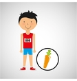 cartoon boy athlete with carrot vector image