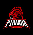 furious piranha sport logo concept isolated vector image