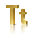 Golden letter T vector image vector image
