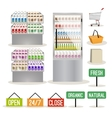 Supermarket shelves set vector image