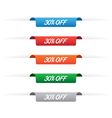 30 percent off paper tag labels vector image vector image