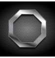 Metal octagon logo on perforated background vector image vector image