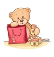 teddy bear with gifts vector image vector image