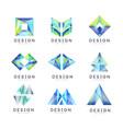 abstract logo design set gem geometric badge vector image