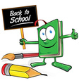 book cartoon with brush and pencil vector image