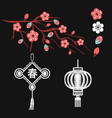 embroidery blossoms branch of cherry sakura tree vector image