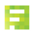 F letter pixels square logo vector image