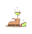 Isolated cartoon old boots and meat tree vector image