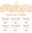 pizza food menu for restaurant and cafe design vector image