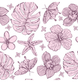 Seamless pattern tropical flowers vector image