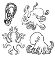 set of octopus icons isolated on white background vector image