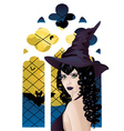Witch near Gothic Window vector image