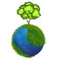 Globe and tree vector image