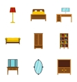 Home furnishings icons set flat style vector image