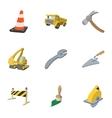 Repair road tools icons set cartoon style vector image