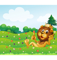 A king lion at the top of the hill vector image vector image