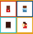 flat icon bitter set of chocolate shaped box vector image