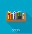 flat bookshelf modern design vector image