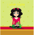 sweet Asian girl enjoy sushi - menu card vector image
