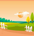 agriculture field sunny rural landscape vector image