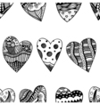 background of hand drawn hearts vector image