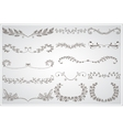 Big set of elegant calligraphic foliate borders vector image