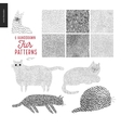 Handdrawn patterns with cats vector image