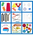Set of flat sewing isolated elements vector image